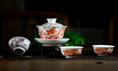 粉彩龙凤盖杯茶器